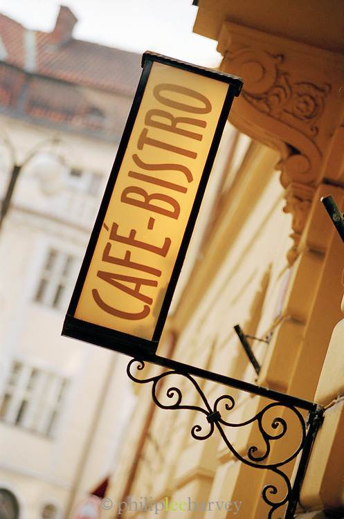 Cafe-Bistro sign in downtown Prague. Czech Republic
