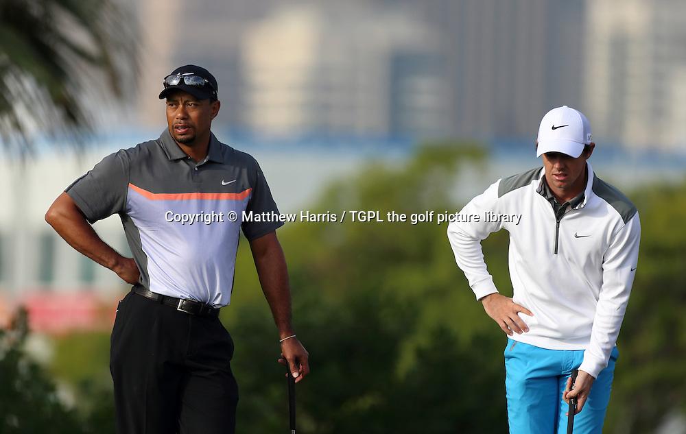 Tiger WOODS (USA) and Rory MCILROY (NIR) during second round  Omega Dubai Desert Classic 2014, Emirates Club,Dubai,UAE.