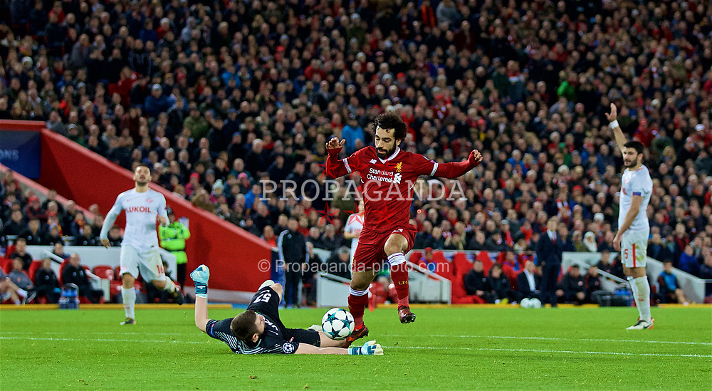 LIVERPOOL, ENGLAND - Wednesday, December 6, 2017: Liverpool's Mohamed Salah and FC Spartak Moscow's goalkeeper Aleksandr during the UEFA Champions League Group E match between Liverpool FC and FC Spartak Moscow at Anfield. (Pic by David Rawcliffe/Propaganda)