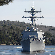 3/9/12 -- GEORGETOWN, Maine. US Navy Destroyer Michael Murphy returns from Sea Trials at about 1 pm on Friday, seen from bluffs to teh south of Doubling Point. .   Photo by Roger S. Duncan.