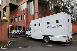 © Licensed to London News Pictures. 17/02/2017. Sheffield, UK. A prison van arrives at Sheffield Crown Court this morning. 18-year-old Shea Peter Heeley is due to appear at Sheffield Crown Court today charged with the murder of Leonne Weeks. The body of 16-year-old Leonne was found with multiple stab wounds in the Dinnington area of South Yorkshire last month.  Photo credit : Ian Hinchliffe/LNP