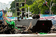 May 19 - BANGKOK, THAILAND: A Thai armored personnel carrier tries to breach the Red Shirt wall in Lumpini Park during the Thai government crack down against Red Shirt and anti government protesters. The Royal Thai Army attacked anti-government protesters May 19 with troops and armored personnel carriers. Photo by Jack Kurtz