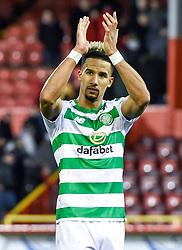 Celtic's Scott Sinclair applauds the Celtic fans after the Scottish Premiership match at Pittodrie Stadium, Aberdeen.