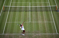 Venus Williams during her match against Cori Gauff on day one of the Wimbledon Championships at the All England Lawn Tennis and Croquet Club, Wimbledon.