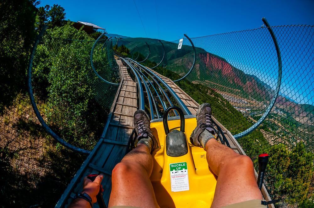 Canyon flyer, an alpine rollercoaster, Glenwood Cavern Adventure Park, Iron Mountain, above Glenwood Springs, Colorado USA