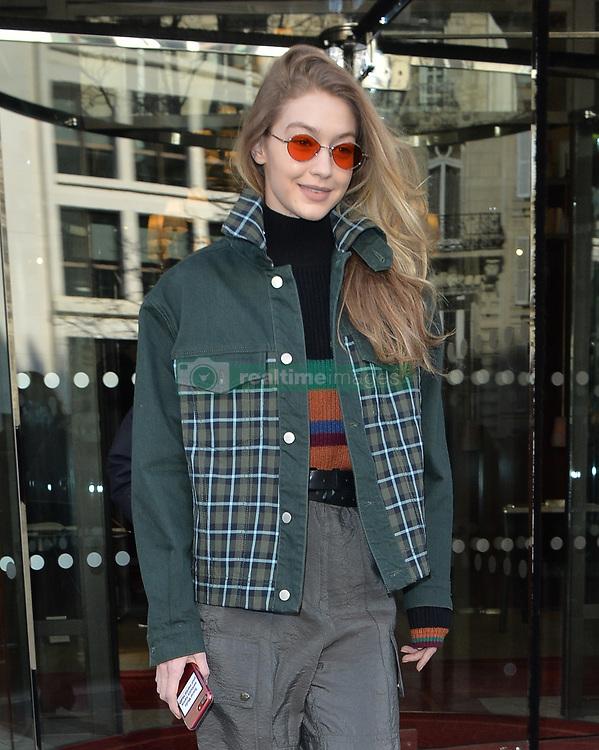 Gigi Hadid seen leaving her hotel in paris<br /><br />28 February 2018.<br /><br />Please byline: PalaceLee/Vantagenews.com