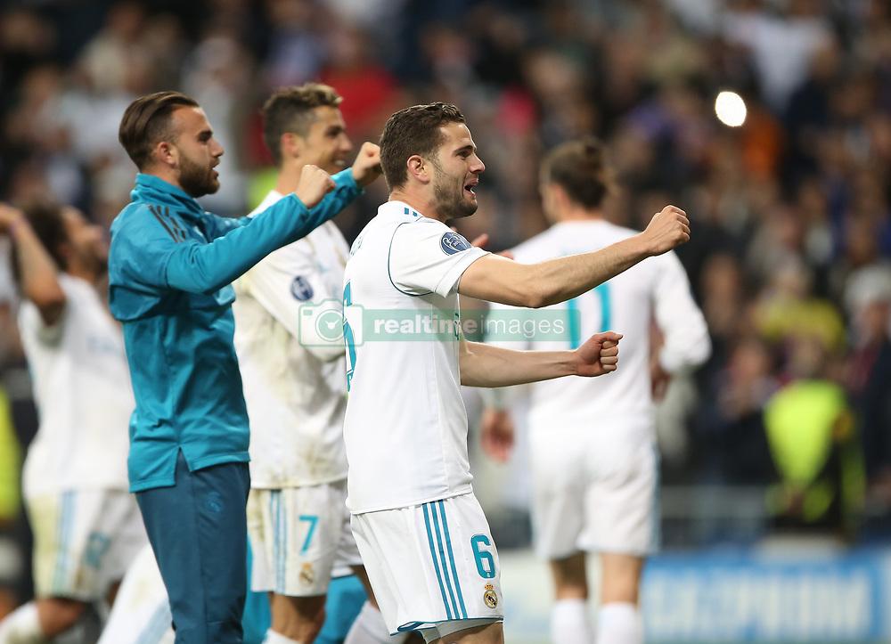 May 1, 2018 - Madrid, Spain - Nacho Fernandez celebrates victory after the UEFA Champions League Semi Final Second Leg match between Real Madrid and Bayern Muenchen at the Bernabeu on May 1, 2018 in Madrid, Spain. (Credit Image: © Raddad Jebarah/NurPhoto via ZUMA Press)