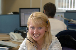 Call centre worker on the telephone; NHS,