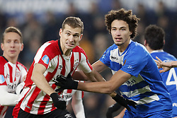 (L-R) Luuk de Jong of PSV, Daniel Schwaab of PSV, Phillipe Sandler of PEC Zwolle during the Dutch Eredivisie match between PSV Eindhoven and PEC Zwolle at the Phillips stadium on February 03, 2018 in Eindhoven, The Netherlands