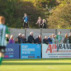 TELFORD COPYRIGHT MIKE SHERIDAN  Young Blyth fans find a vantage point during the National League North fixture between Blyth Spartans and AFC Telford United at Croft Park on Saturday, September 28, 2019<br /> <br /> Picture credit: Mike Sheridan<br /> <br /> MS201920-023
