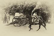 USA, Oregon, Brooks, Willamette Mission State Park, Confederate cavalry trooper rides through camp