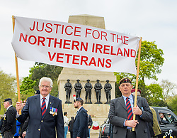 April 14, 2017 - London, COUNTY/STATE, Great Britain - London, Great Britain. .Veterans march past the Guards Memorial during the Justice for Northern Ireland Veterans March in central London..They are protesting the prosecution of former Service men and women who served in Northern Ireland during the Troubles. (Credit Image: © Anthony Upton/London News Pictures via ZUMA Wire)