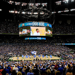 Apr 2, 2012; New Orleans, LA, USA; A general view as the Kentucky Wildcats take to the court before the start of the finals of the 2012 NCAA men's basketball Final Four against the Kansas Jayhawks at the Mercedes-Benz Superdome. Mandatory Credit: Derick E. Hingle-US PRESSWIRE