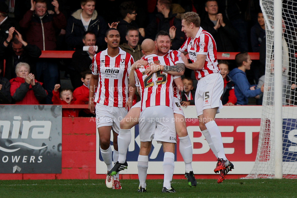 Steve Elliott of Cheltenham (second right) celebrates after scoring his side's first goal. Skybet football league two match, Cheltenham Town  v Wycombe Wanderers at The Abbey Business Stadium, Whaddon Road in Cheltenham, Glos on Saturday 22nd November 2014.<br /> pic by Mark Hawkins, Andrew Orchard sports photography.