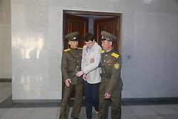 PYONGYANG, March 16, 2016 (Xinhua) -- American student Otto Frederick Warmbier (C) is escorted out of the courtroom after his trial in Pyongyang, capital of the Democratic People's Republic of Korea (DPRK), on March 16, 2015. American student Otto Frederick Warmbier, held by the Democratic People's Republic of Korea (DPRK), was sentenced to 15 years of hard labor for anti-DPRK crimes, the Supreme Court of the DPRK announced Wednesday. (Xinhua/Lu Rui) (Credit Image: © Lu Rui/Xinhua via ZUMA Wire)