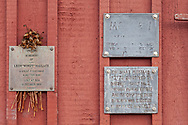 Metal plaques on the wall of Motif #1 in Rockport