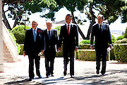 The three former presidents of Portugal, Mario Soares (1986-1996), Jorge Sampaio (1996-2006), Ramalho Eanes (1976-1986) and Cavaco Silva (third  from left), current Portuguese President of the Republic, in the ceremonies of the 37 Anniversary of April 25. Date of the revolution in Portugal which destornou the dictatorial regime of Salazar and ordered democracy. Also known as the Carnation Revolution. 25/04/2011 NO SALES IN PORTUGAL