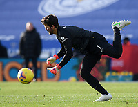 Football - 2020 / 2021 Premier League - Leicester City vs Liverpool - King Power Stadium<br /> <br /> Liverpool's Alisson Becker collides with Ozan Kabak leading to Leicester City's Jamie Vardy scoring his side's second goal.<br /> <br /> COLORSPORT/ASHLEY WESTERN