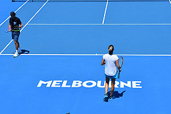January 24, 2019 - Melbourne, AUSTRALIA - Lucas Pouille (Fra) with Amelie Mauresmo and Loic Courteau (Credit Image: © Panoramic via ZUMA Press)