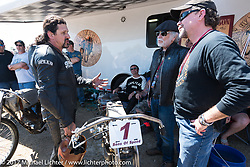 Bill and Willie G. Davidson chats with Billy Lane in the pits before the start of Billy's Son's of Speed race during Daytona Bike Week. New Smyrna Beach, FL. USA. Saturday March 18, 2017. Photography ©2017 Michael Lichter.