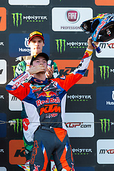 September 30, 2018 - Imola, BO, Italy - Jeffrey HERLINGS (NED) enters into the podium kissing all fans after his victory in Race 2 MXGP of Italy in Imola. (Credit Image: © Riccardo Righetti/ZUMA Wire)