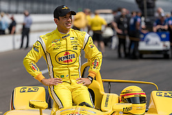 May 19, 2018 - Indianapolis, IN, U.S. - INDIANAPOLIS, IN - MAY 19: Helio Castroneves, driver of the #3 Team Penske Chevrolet, poses for photos during Indianapolis 500 qualifications on May 19, 2018, at the Indianapolis Motor Speedway Road Course in Indianapolis, Indiana. (Photo by Adam Lacy/Icon Sportswire) (Credit Image: © Adam Lacy/Icon SMI via ZUMA Press)