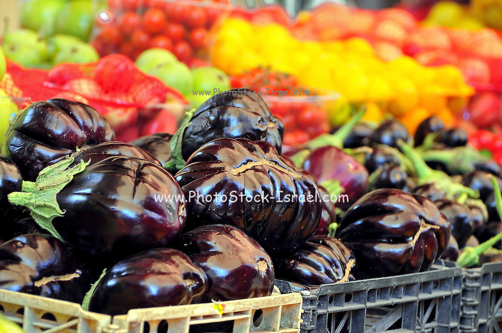 Israel, western Galilee, Acre, The old city Eggplants for sale in the market
