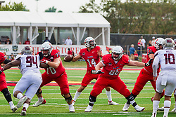 NORMAL, IL - October 02: Drew Bones, Jackson Waring and Peter Bussone during a college football game between the Bears of Missouri State and the ISU (Illinois State University) Redbirds on October 02 2021 at Hancock Stadium in Normal, IL. (Photo by Alan Look)