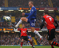 Photo. Daniel Hambury.<br /> Barclays Premiership.<br /> Chelsea v Blackburn Rovers. 23/10/2004.<br /> Chelsea's hat trick hero Eidur Gudjohnsen gets between Brett Emerton (r/h/s) and Johnathan Stead
