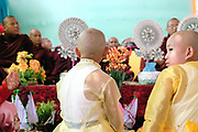 Shinbyu Novice Ceremony on 23rd March 2016 in Mo Bye village, Shan State, Myanmar. In Myanmar, it is customary for boys to enter the monastery as a Buddhist novice between the age of ten and 20 years old although they can be as young as four, for at least one week.
