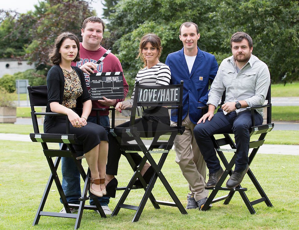 Repro Free: 13/08/2014 The Love/Hate cast, Charlie Murphy, John Connors, Aoibhinn McGinnity, Tom Vaughan Lawlor and Laurence Kinlan are pictured at the RTÉ One New Season Launch 2014. Picture Andres Poveda