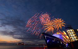 Fireworks display to mark Queen's 90th birthday at the Royal Yacht Britannia.  Britannia Visitor Centre, Leith quay, Edinburgh<br /> (c) Brian Anderson | Edinburgh Elite media