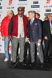24.04.2015, Madison Square Garden, New York, USA, WBA, Wladimir Klitschko vs Bryant Jennings, Wiegen, im Bild l-r: Lennox Lewis (EX-Boxchampion) und Michael Buffer (Ansager) // during weighing for IBF, WBO and WBA world heavyweight title boxing fight between Wladimir Klitschko of Ukraine and Bryant Jennings of the USA at the Madison Square Garden in New York, United Staates on 2015/04/24. EXPA Pictures © 2015, PhotoCredit: EXPA/ Eibner-Pressefoto/ Kolbert<br /> <br /> *****ATTENTION - OUT of GER*****