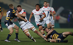 Sale's Sam Moore is tackled by Worcester's Michael Dowsett and Max Stelling during the Anglo Welsh Cup match at Sixways Stadium, Worcester.