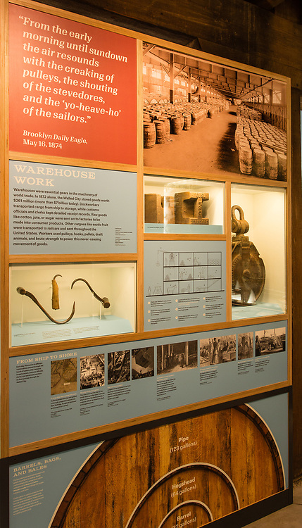 Displays at the Brooklyn Historical Society's waterfront location in DUMBO, housed in a former waetrfront warehouse.