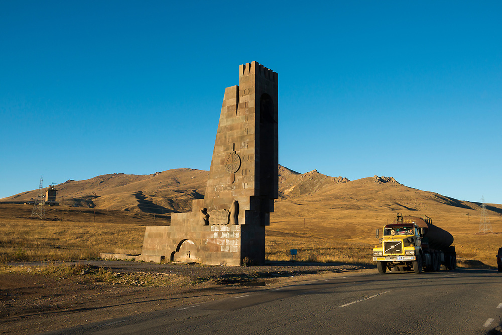 At sunset, a truck drives over Vorotan Pass, located between the Armenian towns of Goris and Yeghegnadzor.<br /> <br /> (September 29, 2016)