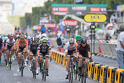 Alexis Ryan (USA) of CANYON//SRAM Racing leads the peloton during the La Course, a 89 km road race in Paris on July 24, 2016 in France.
