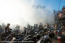 Burn out at the Iron Horse Saloon during the David Allan Coe free afternoon concert. Daytona Bike Week 75th Anniversary event. FL, USA. Sunday March 6, 2016.  Photography ©2016 Michael Lichter.