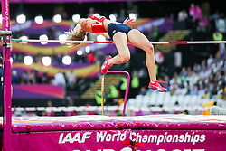 London, August 12 2017 . Michaela Hrubá, Czech Republic, in the women's high jump final on day nine of the IAAF London 2017 world Championships at the London Stadium. © Paul Davey.