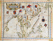Plane-chart, pre-Mercator map of 1571 by the Portugese cartographer Fernao Vaz Dourado (c1520-c1580). Map of  East India, Bay of Bengal, South East China, Thailandnd, Borneo, and Japan.  The Tropic of Cancer is named.