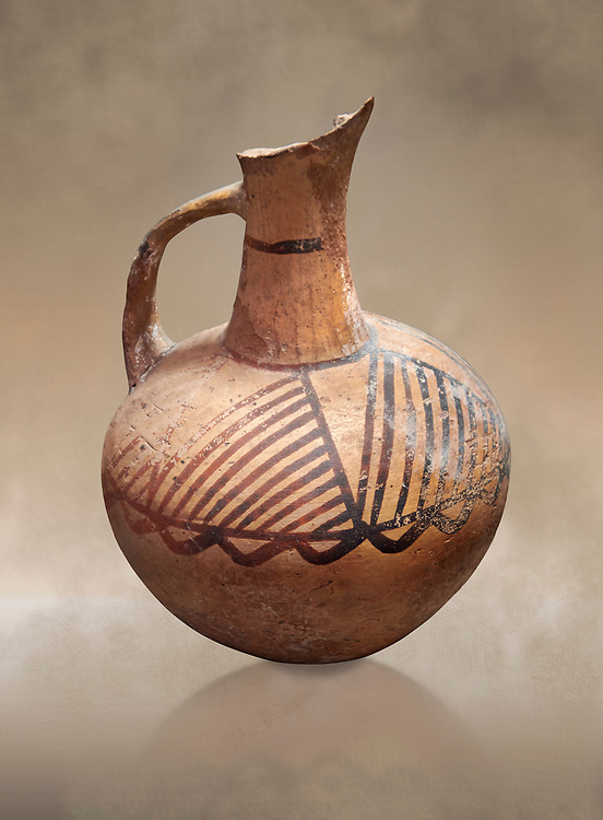 Cycladic ceramic jug with painted linear decoration. Cycladic II (2800-2300 BC) , Chalandriani, Syros. National Archaeological Museum Athens. Cat no 4969 .<br /> <br /> If you prefer to buy from our ALAMY PHOTO LIBRARY  Collection visit : https://www.alamy.com/portfolio/paul-williams-funkystock/cycladic-art-artefacts.html Type into the LOWER SEARCH WITHIN GALLERY box to refine search by adding background colour, place, museum etc<br /> <br /> Visit our CYCLADIC CIVILISATIONS PHOTO COLLECTIONS for more photos to download or buy as wall art prints https://funkystock.photoshelter.com/gallery-collection/Cycladic-civilisation-Ancient-Greek-Artefacts-art-Photos-Pictures-Images/C0000CmevVvnC.XU