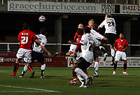 Photo: Mark Stephenson/Sportsbeat Images.<br /> Hereford United v Accrington Stanley. Coca Cola League 2. 24/11/2007.Hereford's ( no 28 ) Dean Beckwith tries a header on goal