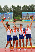 Shunyi, CHINA.   Gold medalist, GBR M4-, left to right, Tom JAMES, Steve WILLIAMS, Peter REED and Andy TRIGGS HODGE, at the 2008 Olympic Regatta, Shunyi Rowing Course.  Sat,.16.08.2008.  [Mandatory Credit: Peter SPURRIER, Intersport Images