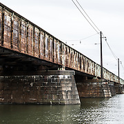 The Long Bridge, one of the five bridges that make up what is commonly known as the 14th Street Bridge spanning the Potomac and connecting Washington DC with Northern Virginia. It is a rail bridge.