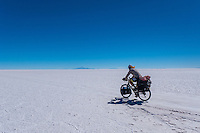 Salar de Uyuni is the world's largest salt flat at 10,582 square kilometers (4,086 sq mi). It is located in the Daniel Campos Province in Potosí in southwest Bolivia, near the crest of the Andes and is at an altitude of 3,656 meters (11,995 ft) above sea level.<br />