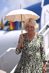 The Duchess of Cornwall shades herself from the sun as she arrives in Kumasi, on day five of her trip to west Africa with the Prince of Wales.