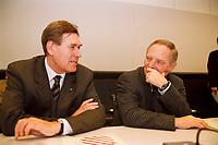 25 JAN 2000, BERLIN/GERMANY:<br /> Michael Glos, CSU, Stellv. CDU/CSU Fraktionsvorsitzender, und Wolfgang Schäuble, CDU, CDU/CSU Fraktionsvorsitzender, im Gespräch, vor Beginn der CDU/CSU Fraktionssitzung, Deutscher Bundestag, Reichstag<br /> IMAGE: 20000125-02/01-28<br /> KEYWORDS: Wolfgang Schaeuble