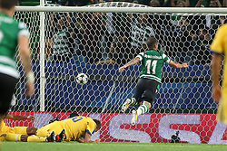 October 31, 2017 - Lisbon, Portugal - Sporting's midfielder Bruno Cesar from Brazil shoots to score during the UEFA Champions League football match Sporting CP vs Juventus at the Alvalade stadium in Lisbon, Portugal on October 31, 2017. Photo: Pedro Fiuza  (Credit Image: © Pedro Fiuza/NurPhoto via ZUMA Press)