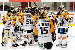 Players of Graz celebrate after winning  the ice hockey match between HK Acroni Jesenice and  Moser Medical Graz 99ers in 24th Round of EBEL league, on December 3, 2010 in Arena Podmezakla, Jesenice, Slovenia. Graz defeated Jesenice 3-0.  (Photo By Vid Ponikvar / Sportida.com)