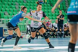 Vilde Kaurin Jonassen of Norway and Nina Žabjek of Slovenia during handball match between RK Krim Mercator (SLO) and Vipers Kristiansand (NOR), on September 12, 2020 in Arena Stožice, Ljubljana, Slovenia. Photo by Sinisa Kanizaj / Sportida